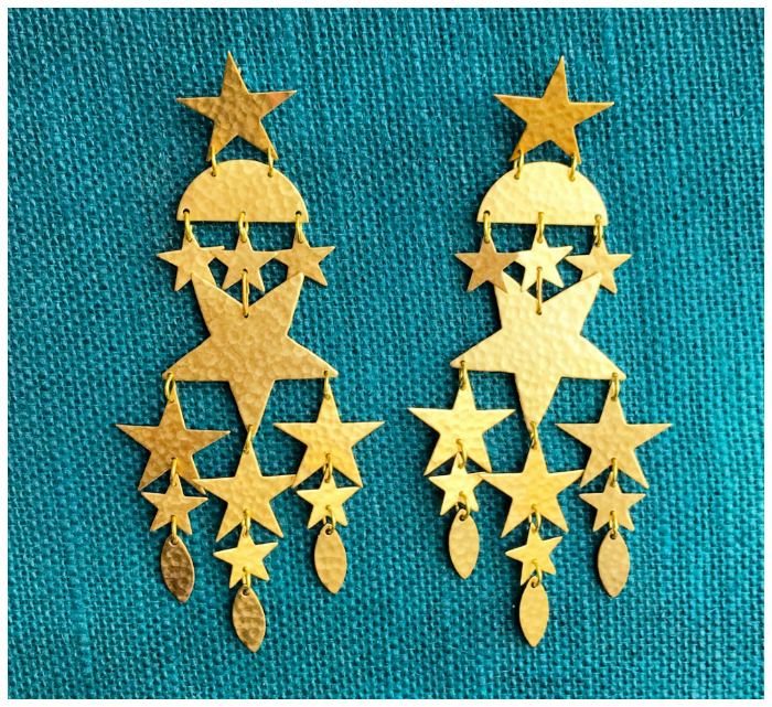 The fabulous Andromeda star earrings by We Dream in Colour. These major statement earrings are 4.5 inches long!