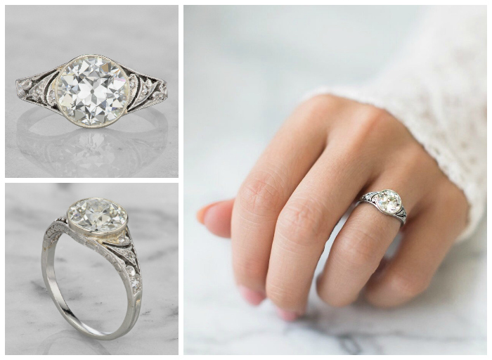 this beautiful vintage engagement ring is from the 1930s its platinum with a beautiful - Old Fashioned Wedding Rings