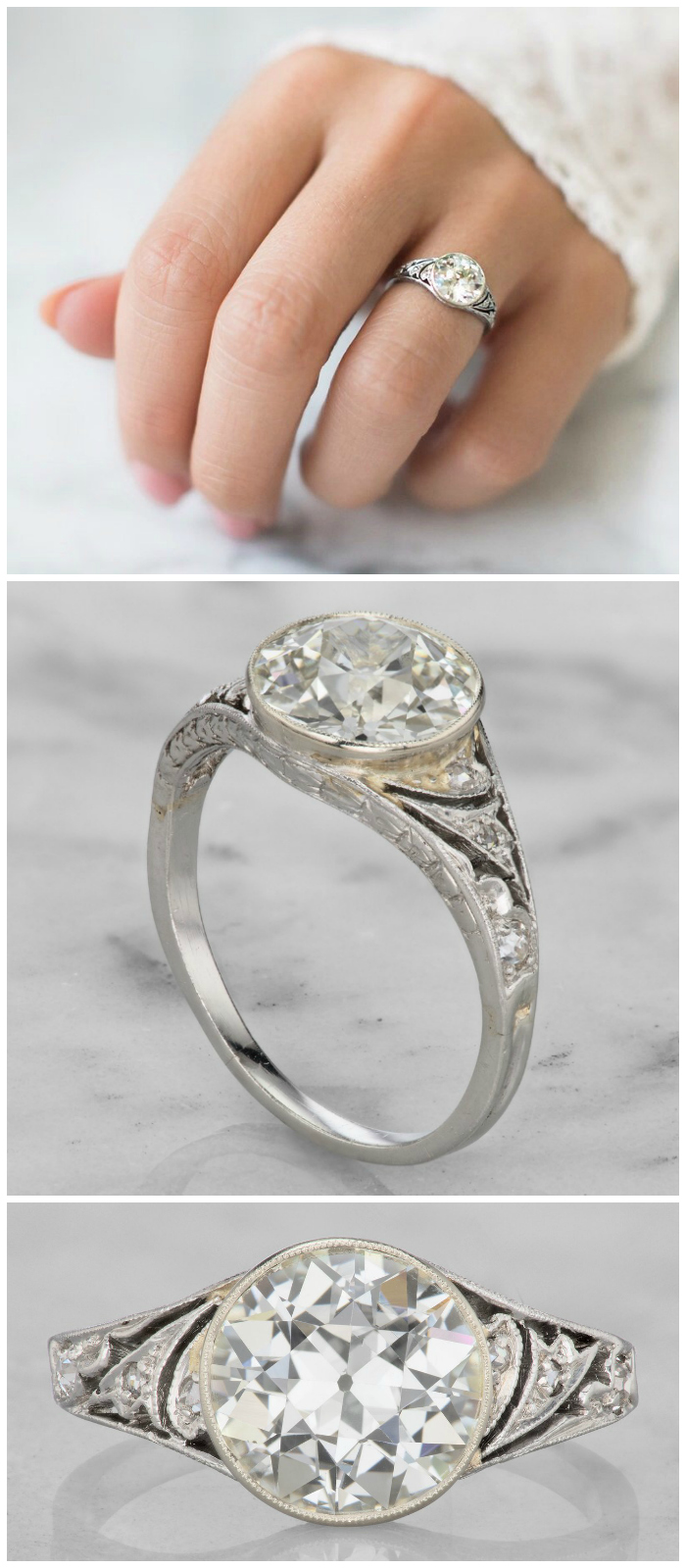 This beautiful vintage engagement ring is from the 1930's. It's platinum, with a beautiful bezel set 2.18 carat old European cut diamond
