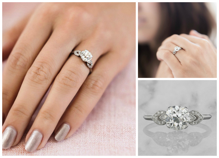 This lovely vintage engagement ring is Art Deco era, circa 1930. It features a 2.01 carat old European cut diamond in a platinum setting
