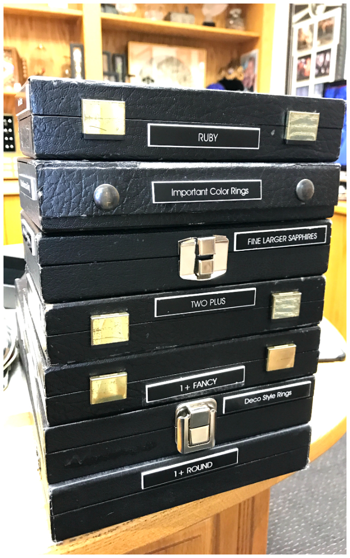 This one stack of jewelry cases is only a tiny portion of Joden's incredible selection - and if you read the labels, you can get an idea of how impressive that really is.