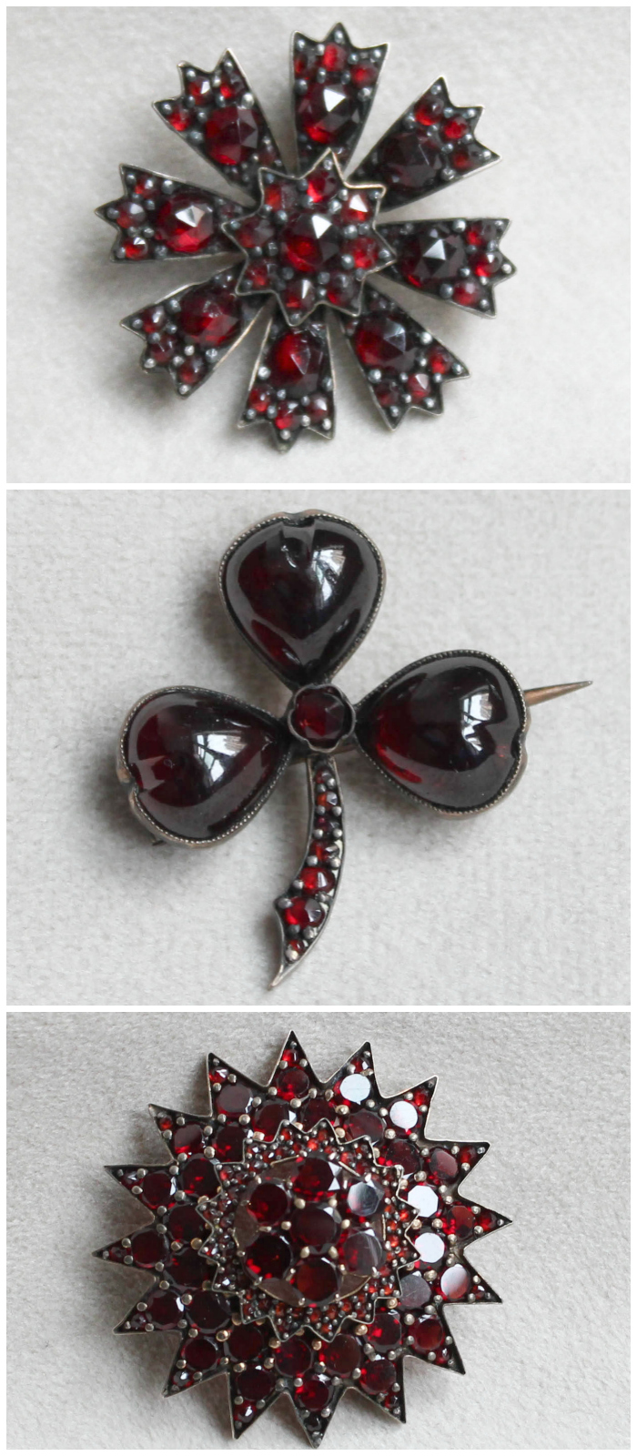 Three Victorian era Bohemian garnet brooches. I love these pretty little antique pieces.