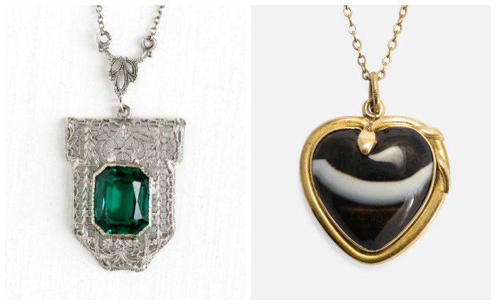 Two beautiful antique pendants! One from the Art Deco era, the other Victorian.