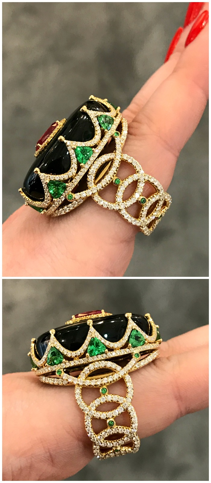 A stunning black jade ring by Erica Courtney.