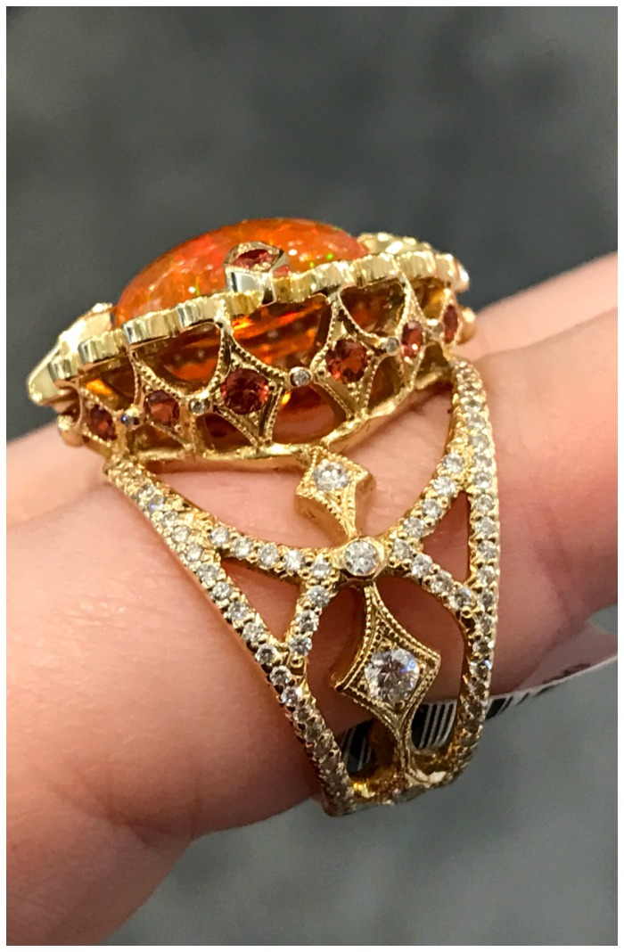 Erica Courtney fire opal and diamond ring.