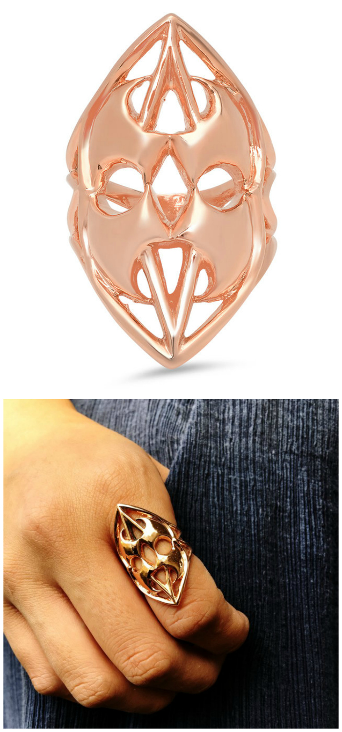 Guardian Statement Ring in rose gold. The Hatchet Women Collection by Kristen Dorsey's is inspired by an incredible true story.