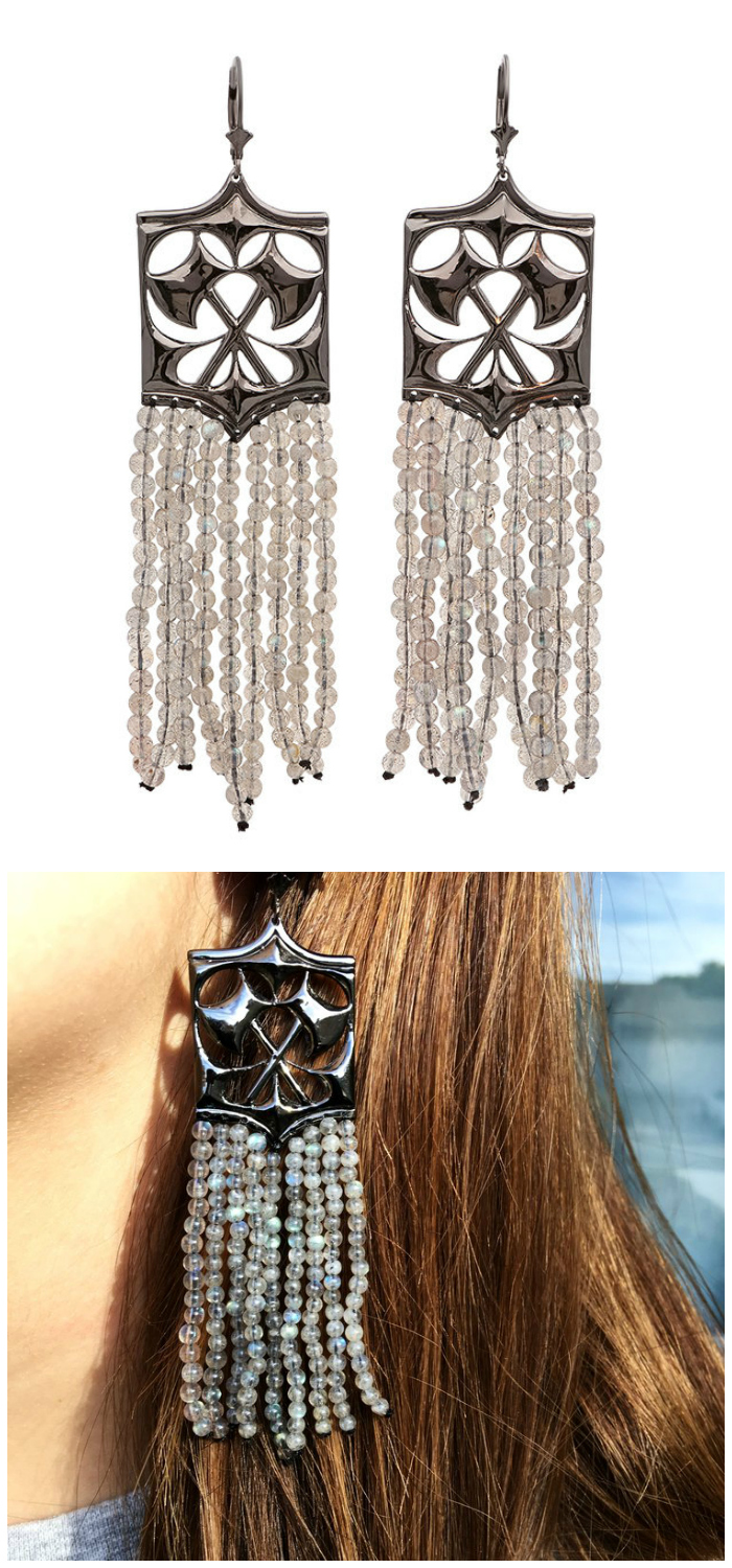 Kristen Dorsey's Hatchet Fringe earrings in black rhodium and labradorite.