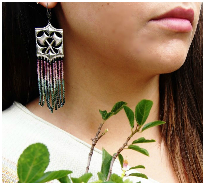 Kristen Dorsey's Hatchet earrings in watermelon tourmaline and antiqued silver.