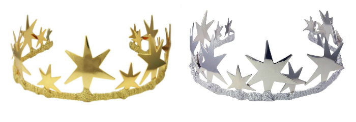 The Alexandra tiara by JY Jewels comes in yellow gold, silver, and rose gold! The stars are gold-dipped rather than solid gold, so it's actually affordable!