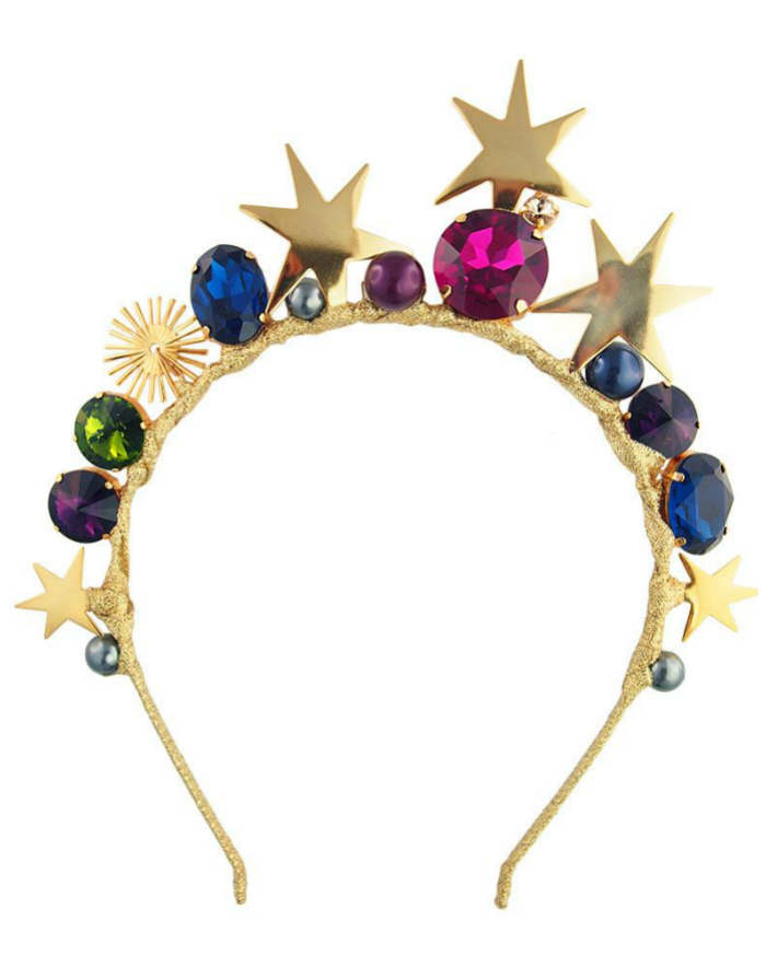 This headband from JY Jewels features gold-dipped stars and Swarovski crystals. Obsessed! Basically a tiara.