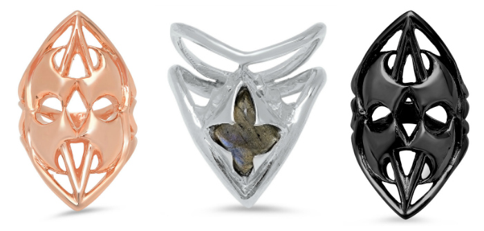 Three badass and beautiful rings from Kristen Dorsey's Hatchet Women Collection.