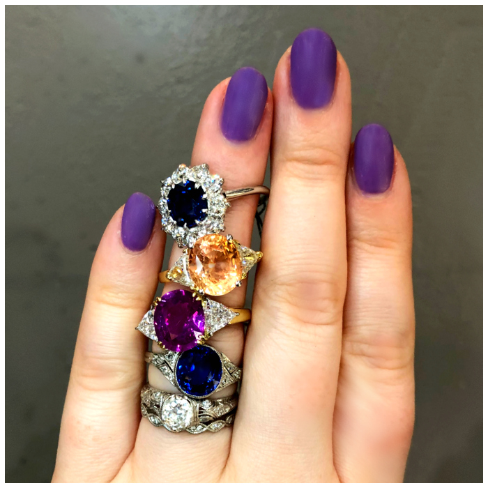 A stack of sapphire engagement rings from Under the Crown jewelry! Some vintage, some newer, all fantastic.
