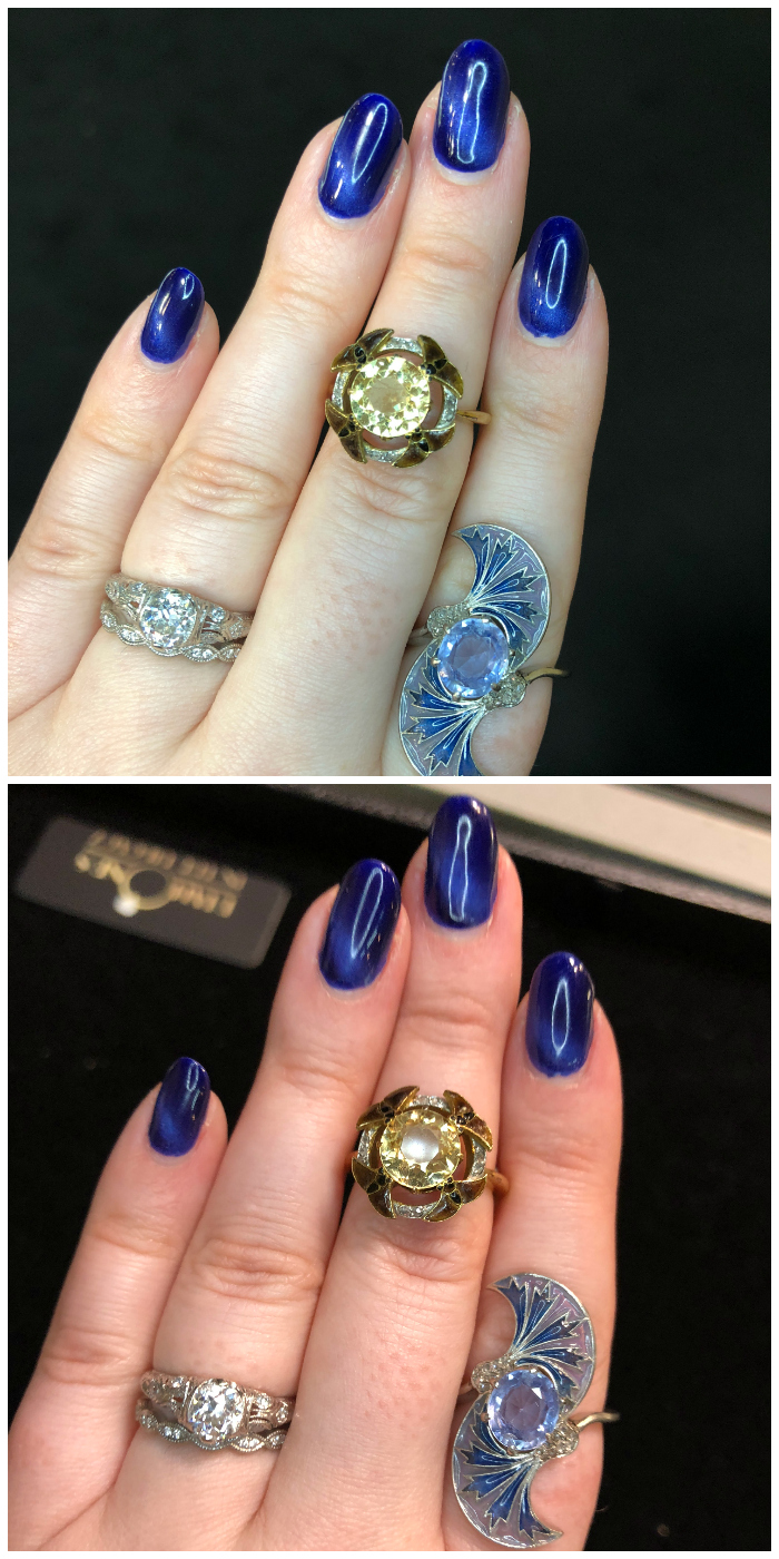 An example of the difference a clip on phone light can make in jewelry photography.