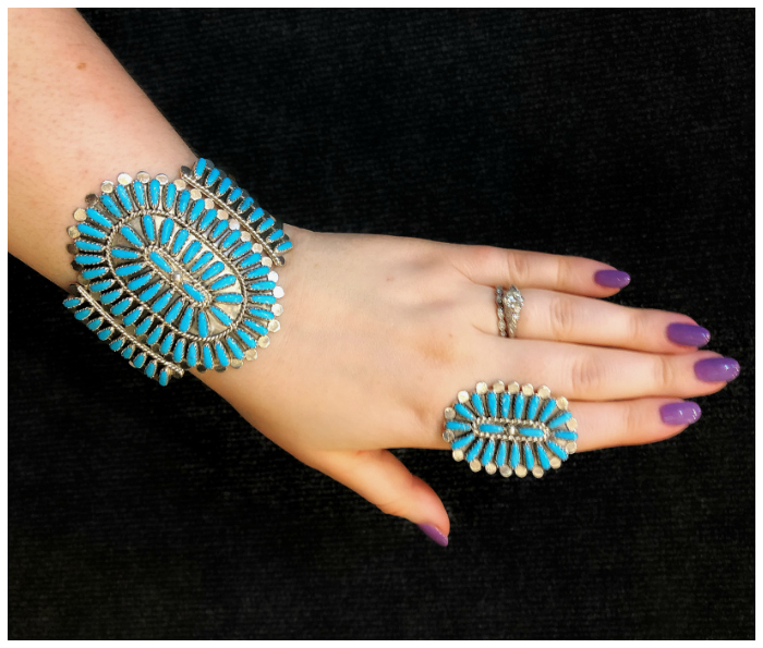 Beautiful handmade silver and turquoise jewelry from Navajo Arts and Crafts.