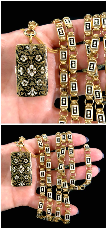 A stunning black and white enamel vinaigrette locket on a long gold chain. From DK Bressler.