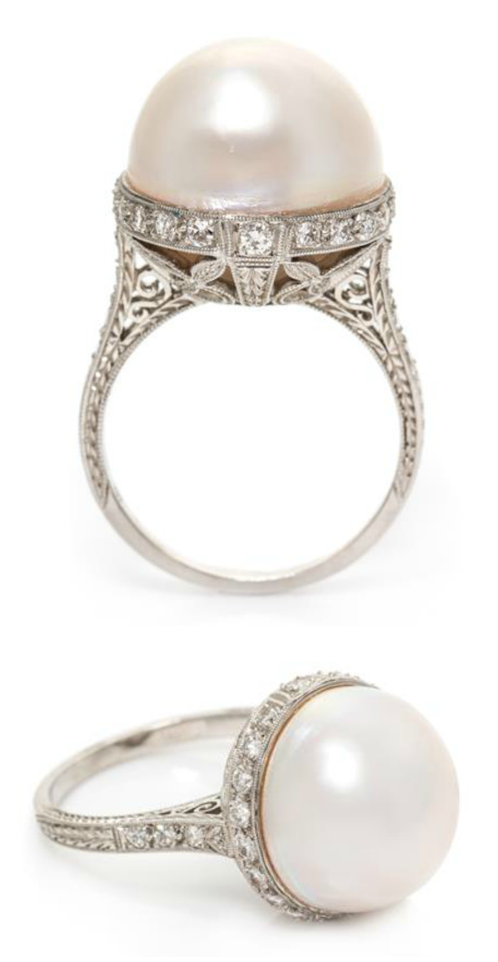 An Edwardian platinum, Mabe pearl and diamond ring.