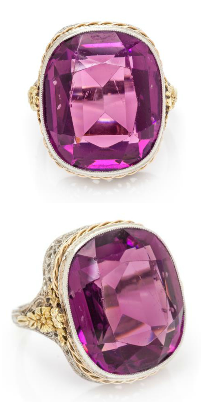 An antique Edwardian era tricolor gold and amethyst ring.