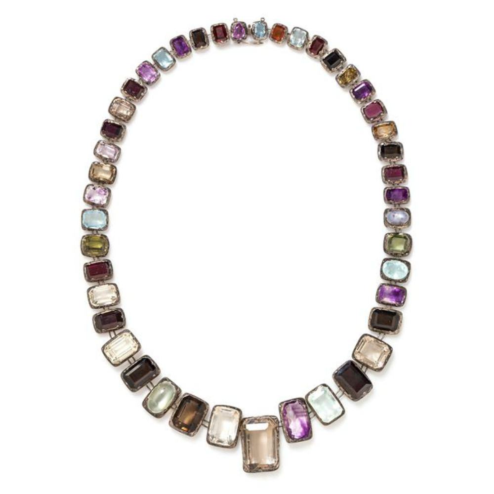 An antique silver necklace with gemstones! So pretty.