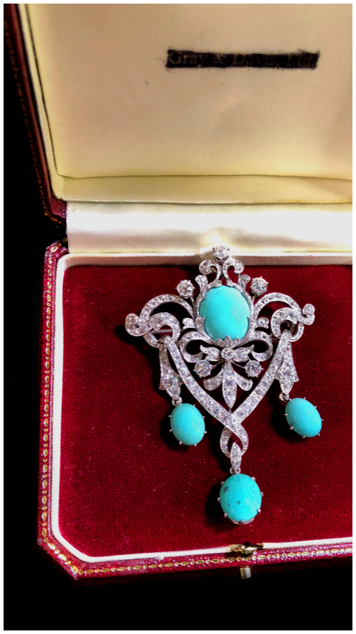 An exquisite Belle Epoque era brooch from DK Bressler. With beautiful turquoise and diamonds. This piece was recently in an exhibit at The Met.