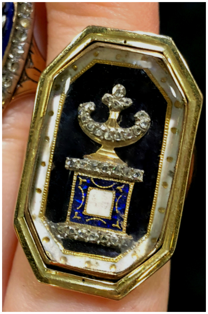 An incredible antique mourning ring from DK Bressler. Georgian era.