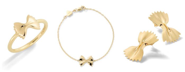 Farfalle ring, bracelet, and earrings from Alison Lou's Mama Mia collection. The cutest pasta jewelry!
