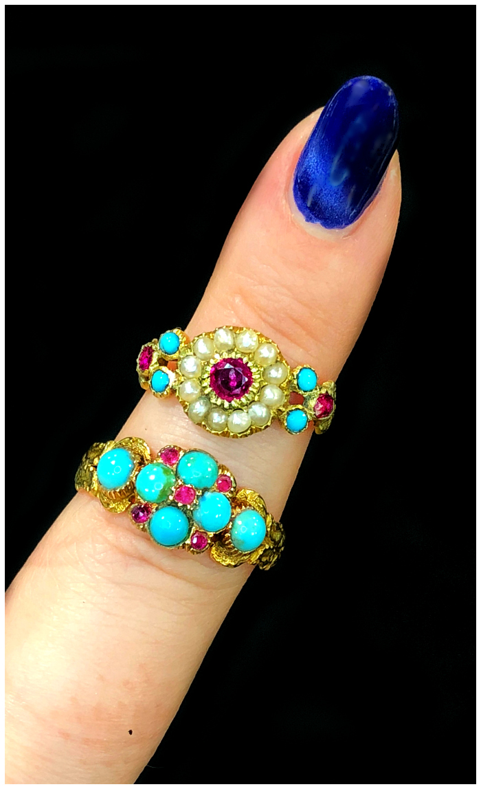 Two beautiful antique gold rings from DK Bressler. With turquoise, rubies, pearls, and diamonds.