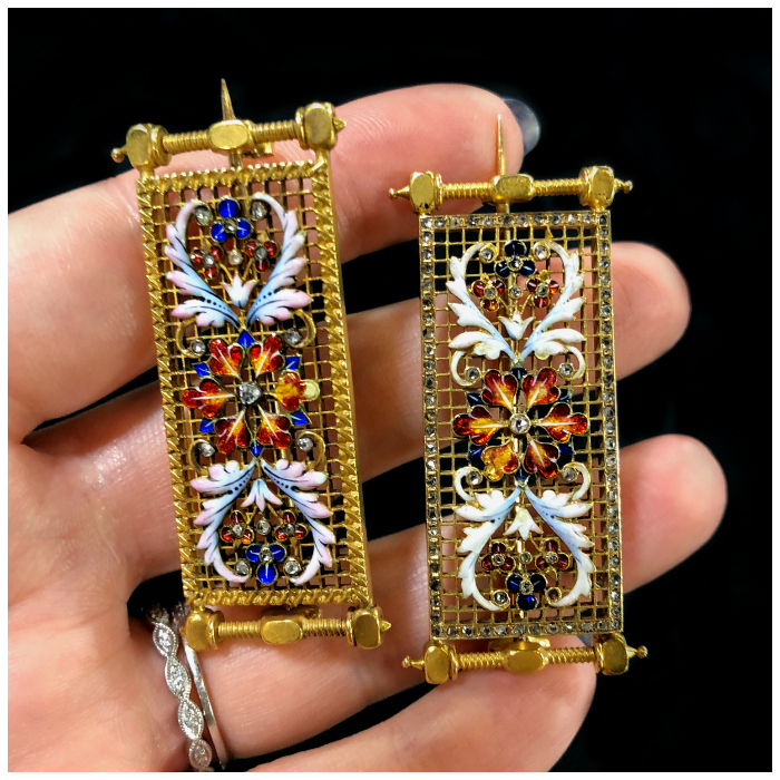 Two utterly stunning antique pins from DK Bressler. Gold with enamel details and accent diamonds. 19th century French, attributed to Alexis Falize.