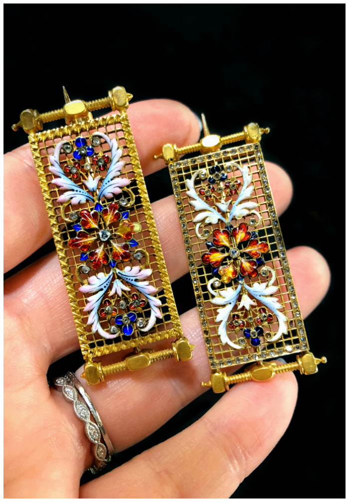 Two utterly stunning antique pins from DK Bressler. Gold with enamel details and accent diamonds. Rare and specacular.