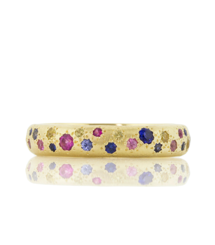 A beautiful multicolored sapphire ring by Adel Chefridi.