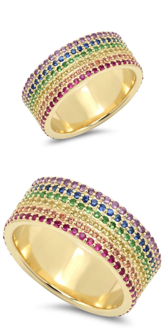 A glorious wide rainbow gemstone ring by Eriness!