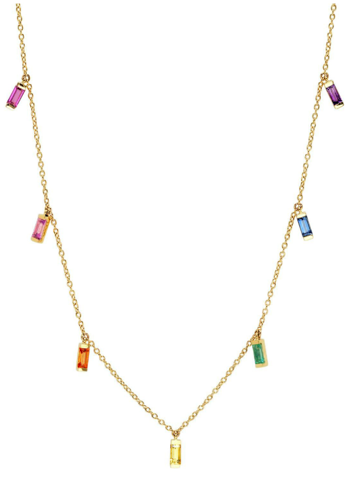 A rainbow necklace by Eriness, with gemstones in gold!