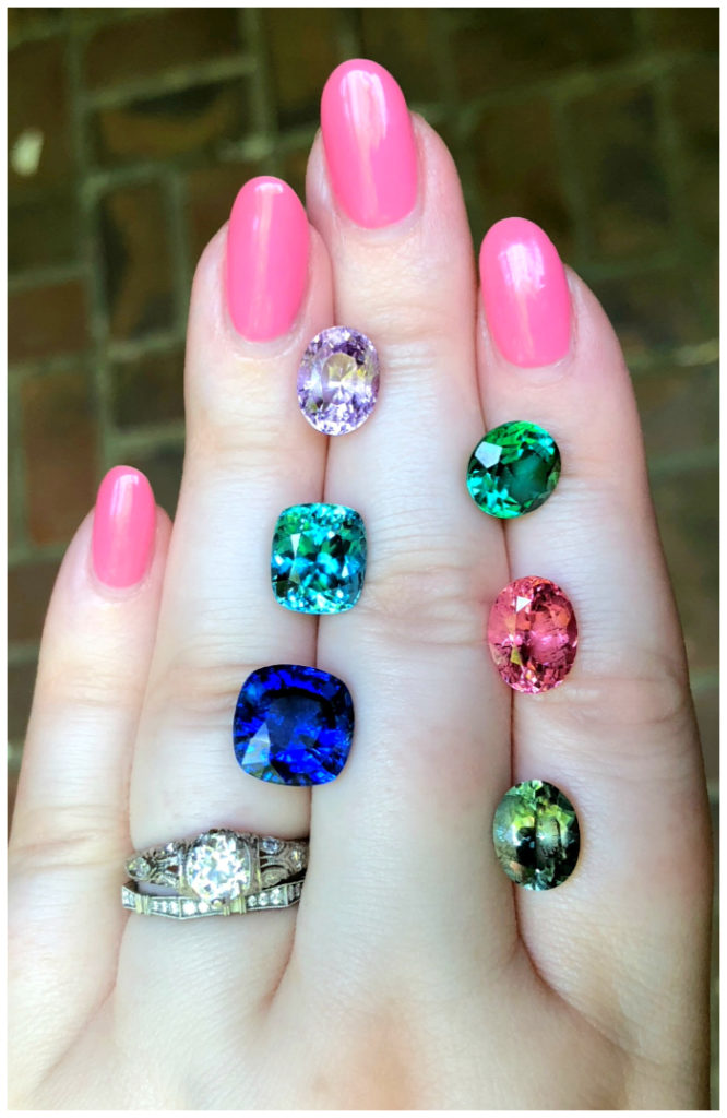 A selection of colored gems from Kimberly Collins Gems!! I couldn't decide which gemstone I loved the most. Sapphires, tourmalines, and spinel.