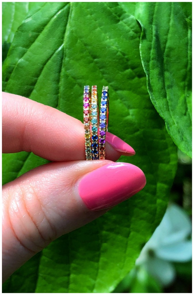 A stack of three glorious rainbow band rings from Kimberly Collins Colored Gems.