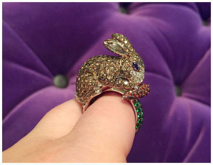 An amazing Roberto Coin ring with a bejeweled bunny rabbit.