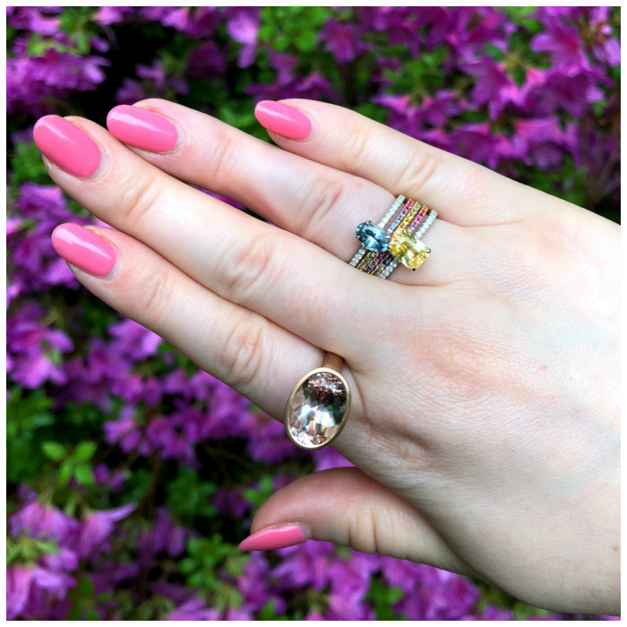 Beautiful rings by Kimberly Collins Gems! Colorful sapphires and a big juicy morganite