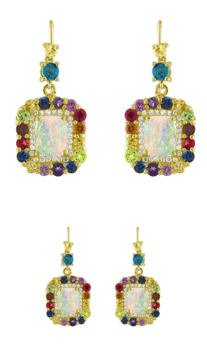 Glorious opal and rainbow gemstone earrings by Eden Presley.