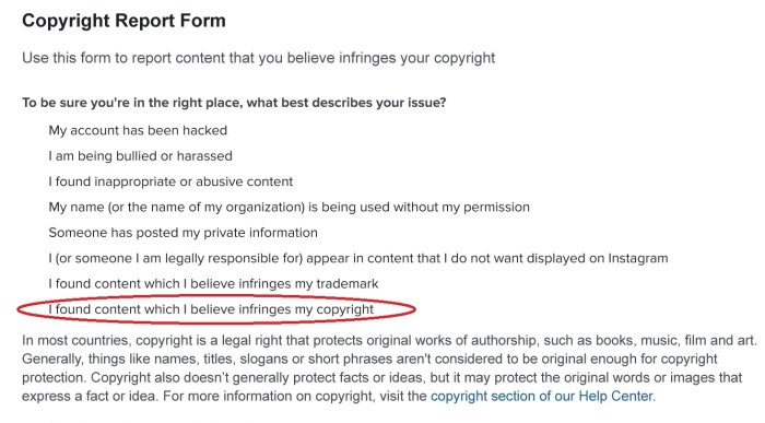 How to report stolen Instagram content - filing a copyright infringement report with Instagram
