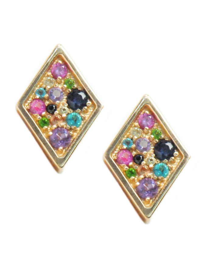 I love this pari of multicolored rainbow stud earrings by Anzie!