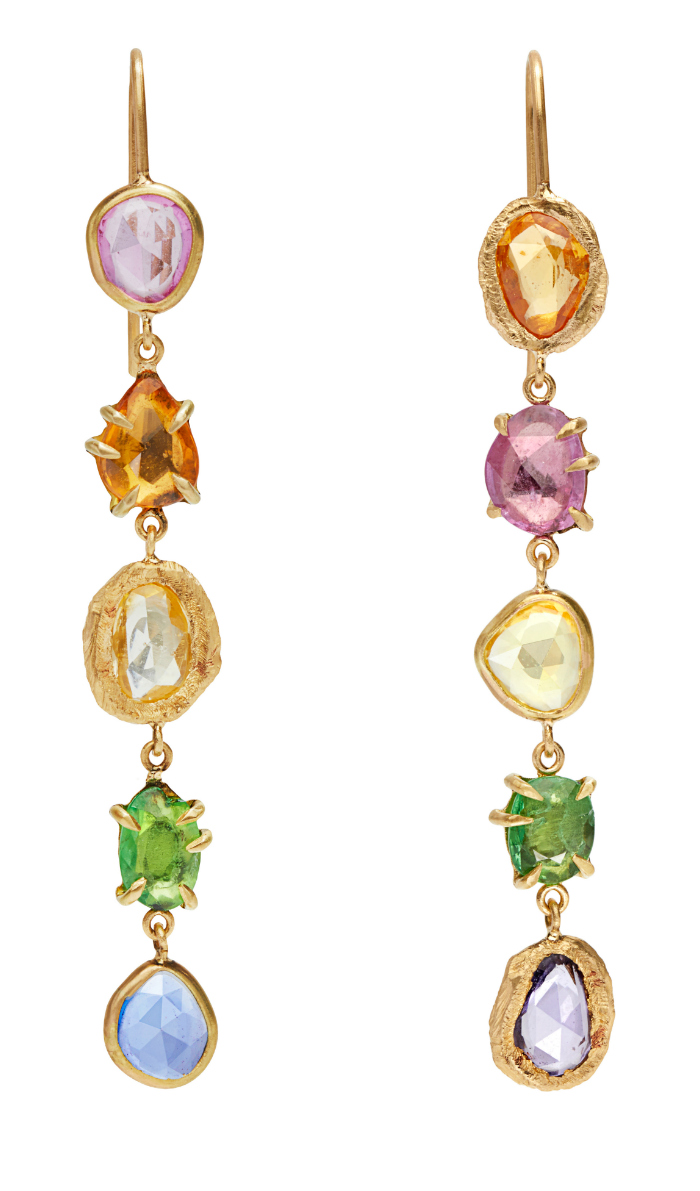 Long and lovely rainbow gemstone earrings by Page Sargisson.