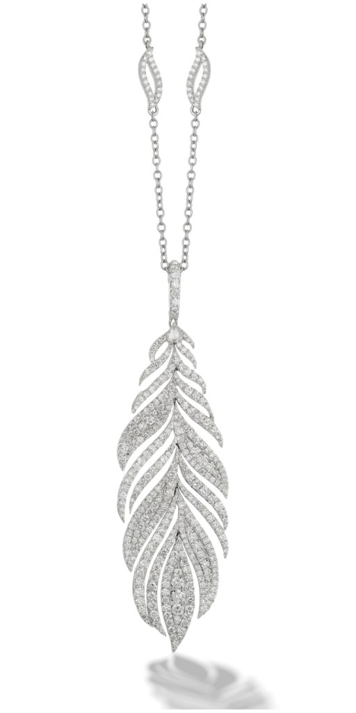 The Peacock feather necklace from Sutra, with 8 carats of diamonds in the feather and 3 more carats in the diamond-accented chain.