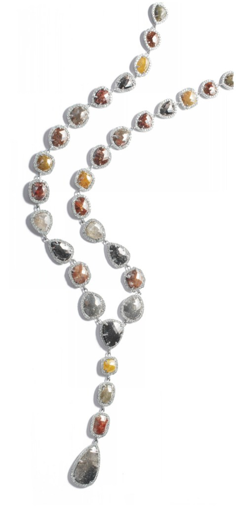 The rough diamond Y necklace by Sutra has 105 carats of rough diamonds and 15 carats of faceted diamonds.