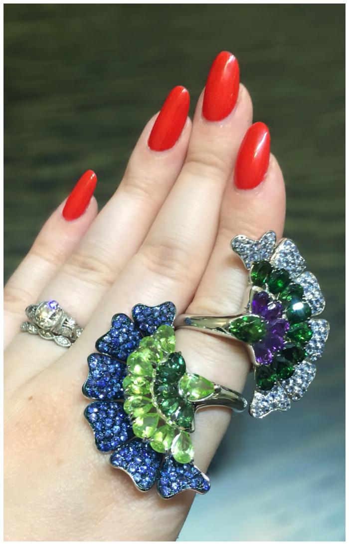 Two glorious colored gemstone fan rings by Carlo Barberis! I love Italian jewelry design.