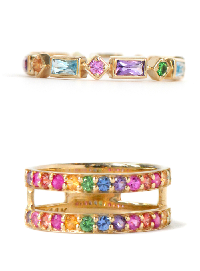Two multicolored rainbow gemstone rings by Anzie. These would make great wedding bands or stacking rings.