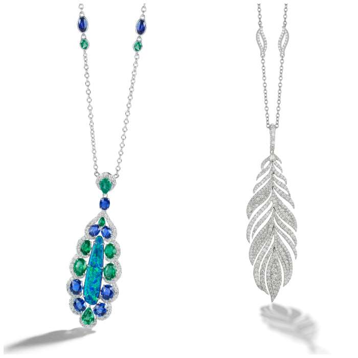 Two necklaces by Sutra! One is the Mother Earth necklace, with opal, emeralds, diamonds, and sapphires, and the other is a lovely diamond peacock feather.