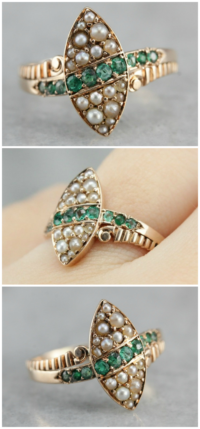 190bab6cc A lovely antique Victorian era ring with emeralds and pearls. From Market Square  Jewelers.