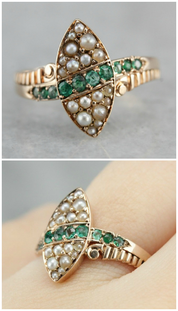 A lovely antique Victorian ring with emeralds and pearls. From Market Square Jewelers.