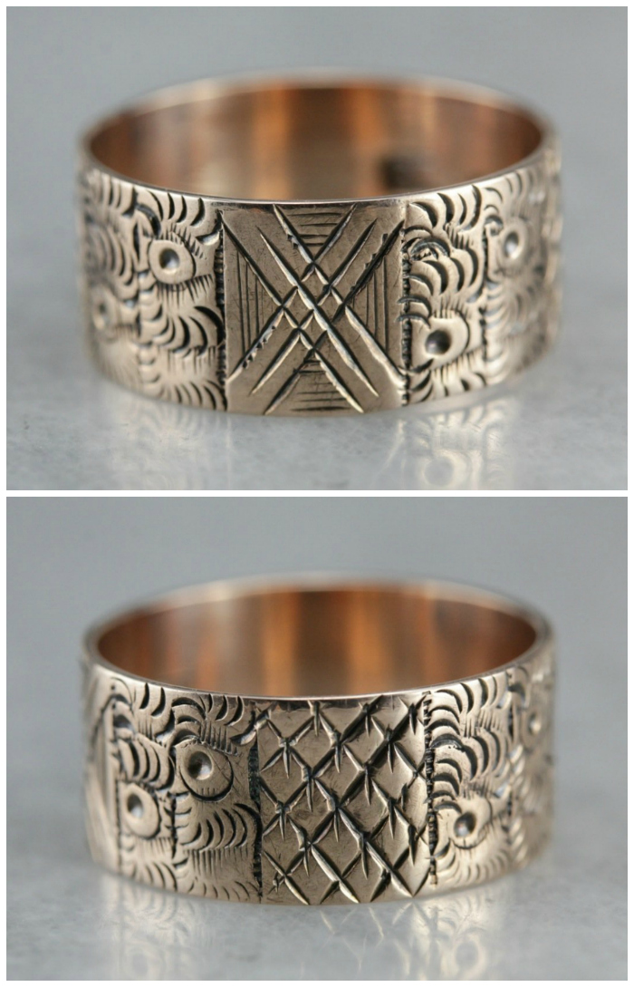 A rose gold Victorian cigar band ring. This would be a beautiful wedding band!