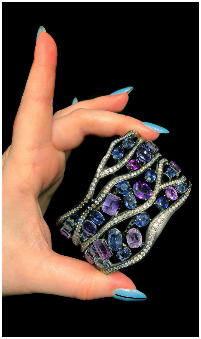 An incredible cuff bracelet by Antonini Milano!! Sapphires and diamonds. What a beautiful example of Italian design!
