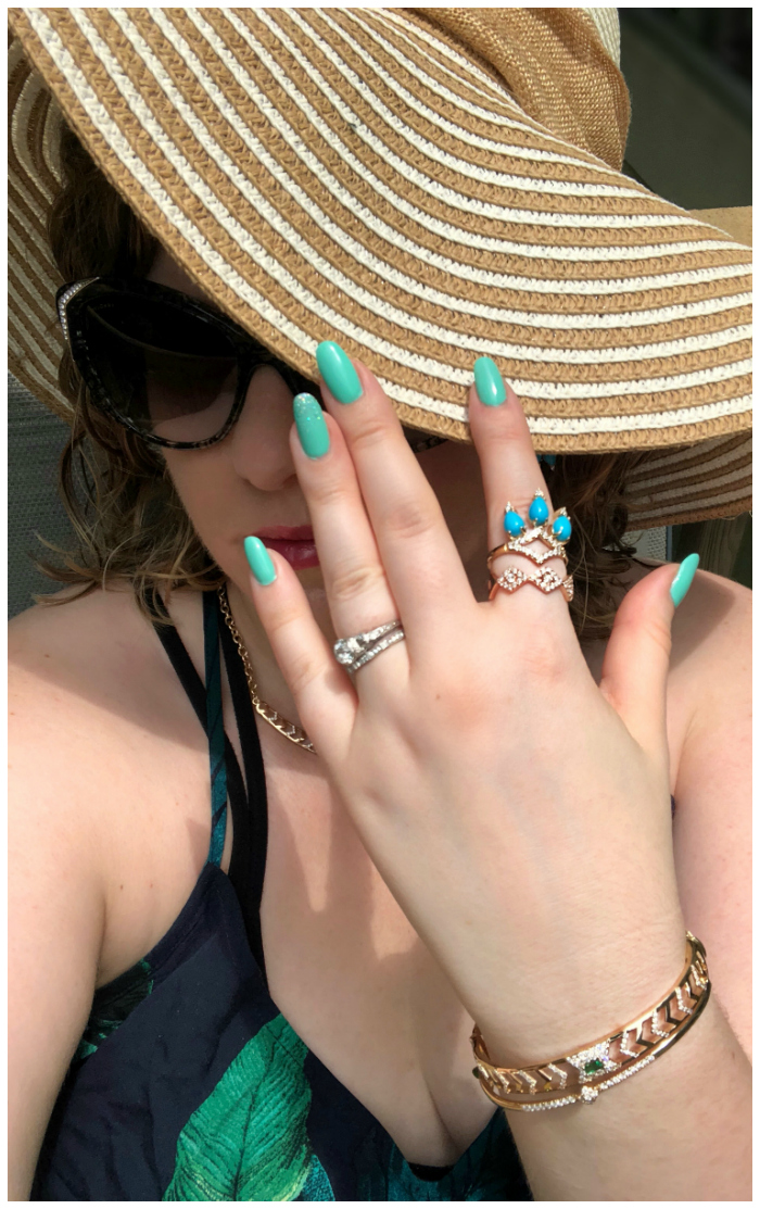 Chillin' poolside, all decked out in GiGi Ferranti jewelry!! Emeralds, diamonds, and turquoise - my favorite for summer.