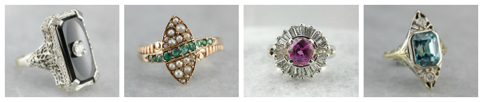 Four glorious vintage and antique rings from Market Square Jewelers.